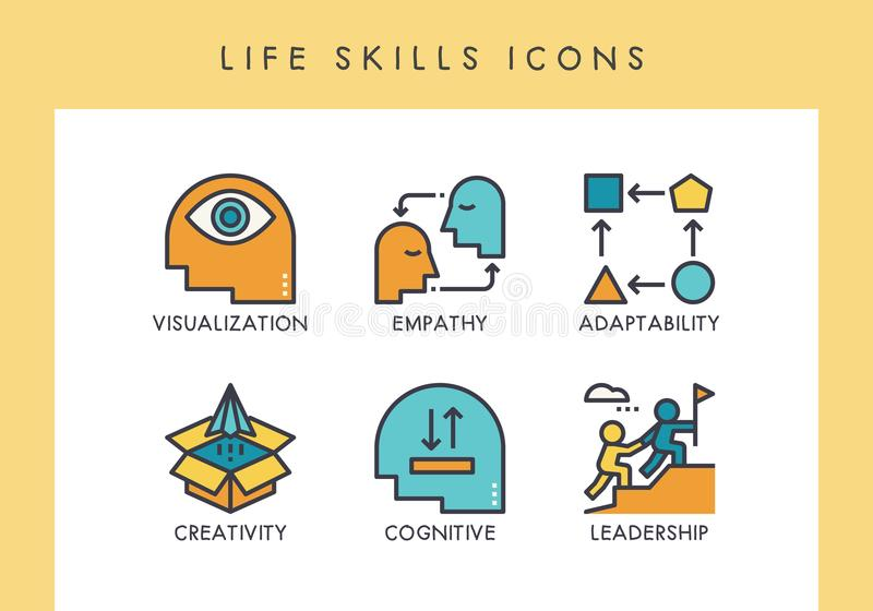 LIfe skills icons stock illustration