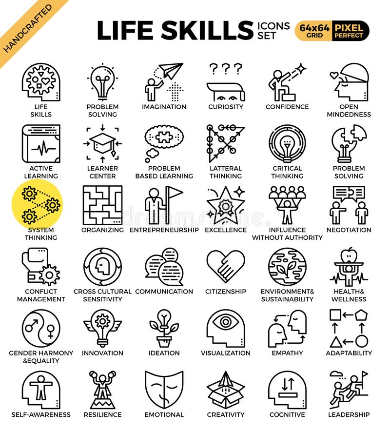 Life skills concept icons stock illustration