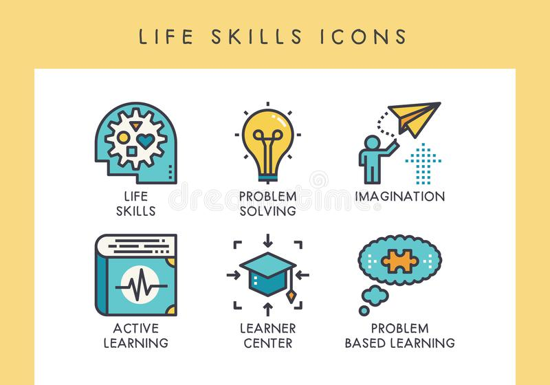 LIfe skills icons. Life skill concept icons for web, app, presentation, etc stock illustration
