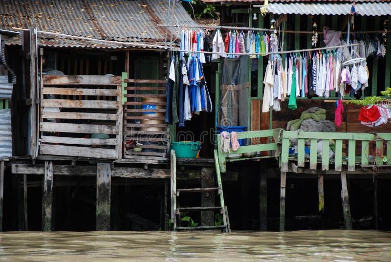 Life in the slums of Bangkok. Thailand, river stock photography