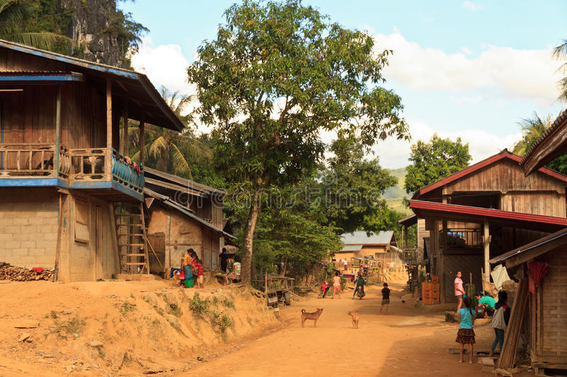 Daily life in a small local village in Laos stock photography