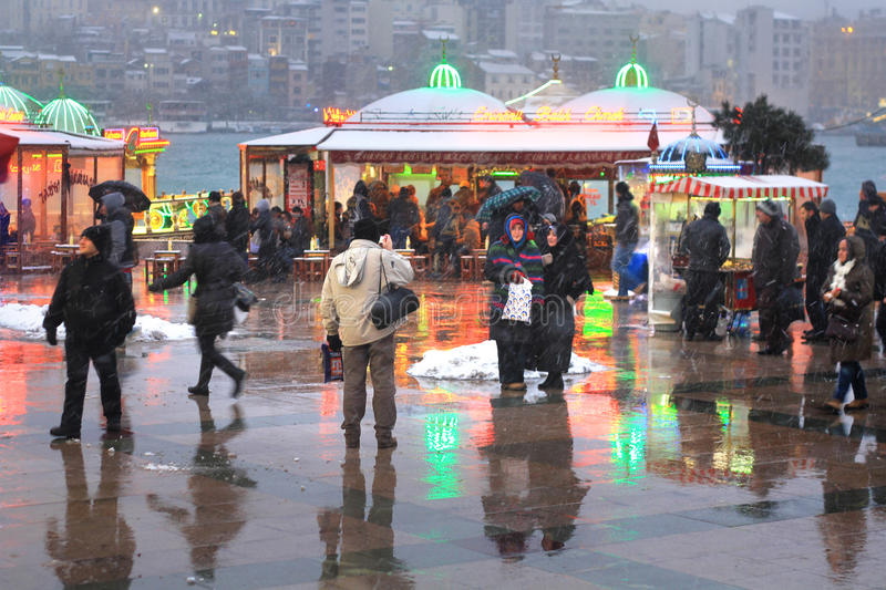 Download Life in Snow Istanbul editorial image. Image of human - 26713800