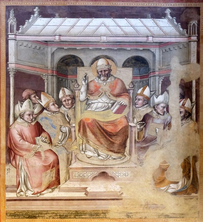 St. Gregory blessing enthroned among the bishops, Santa Maria Novella church in Florence. Life of St. Gregory the Great, Gregory blessing enthroned among the royalty free stock image