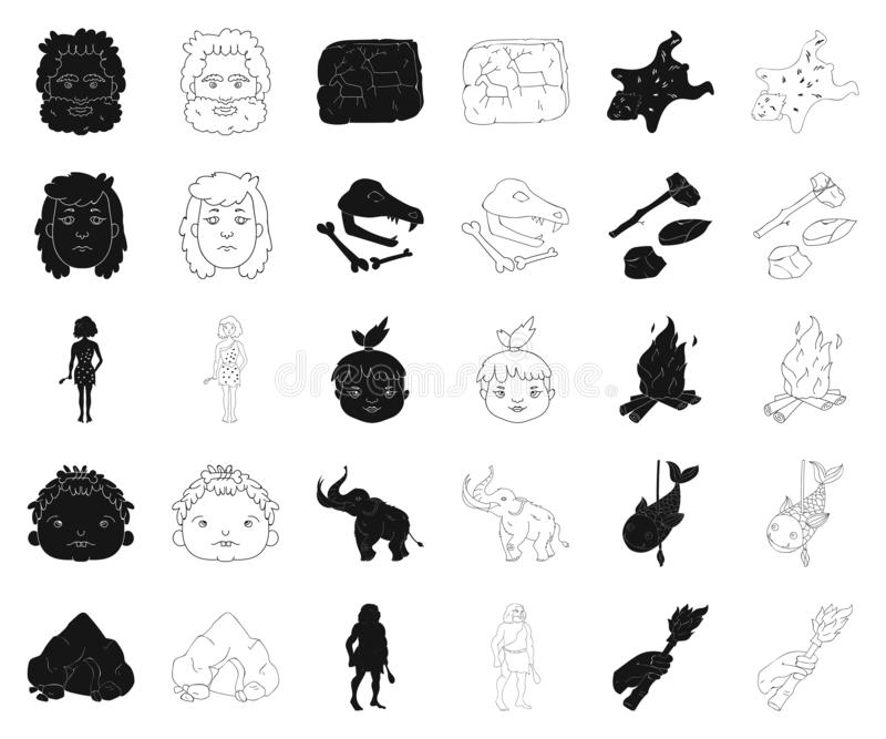 Life in the Stone Age black,outline icons in set collection for design. Ancient people vector symbol stock web. Life in the Stone Age black,outline icons in set stock illustration