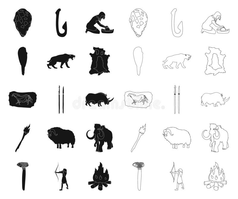 Life in the Stone Age black,outline icons in set collection for design. Ancient people vector symbol stock web. Life in the Stone Age black,outline icons in set royalty free illustration