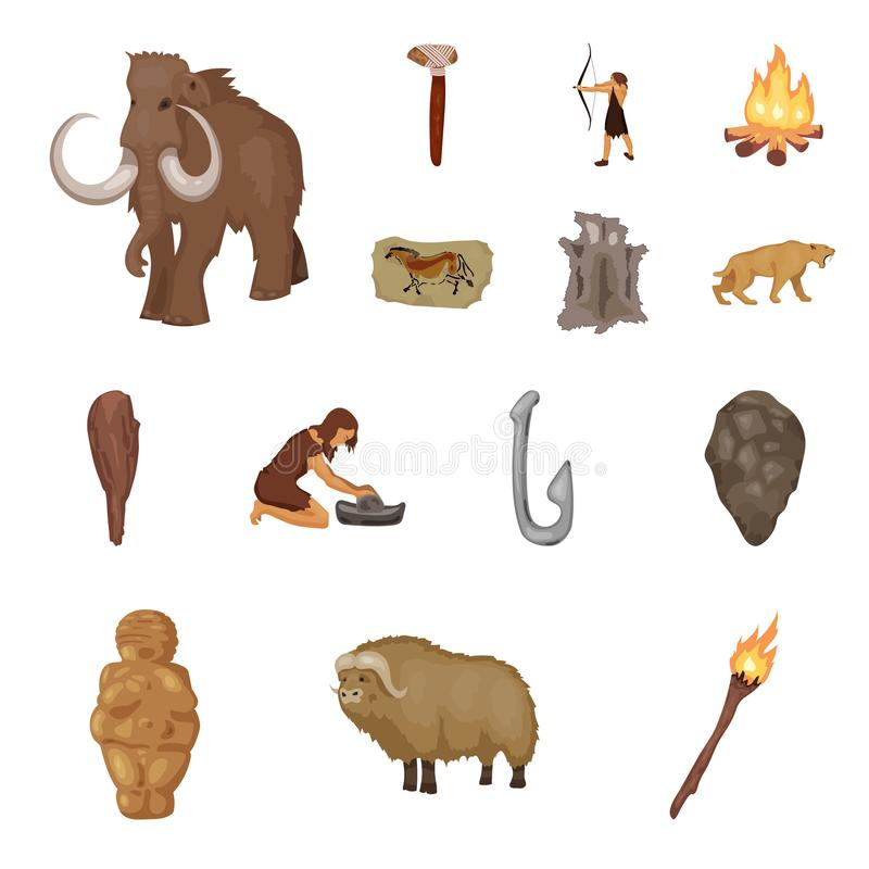 Life in the Stone Age cartoon icons in set collection for design. Ancient people vector symbol stock web illustration. Life in the Stone Age cartoon icons in royalty free illustration