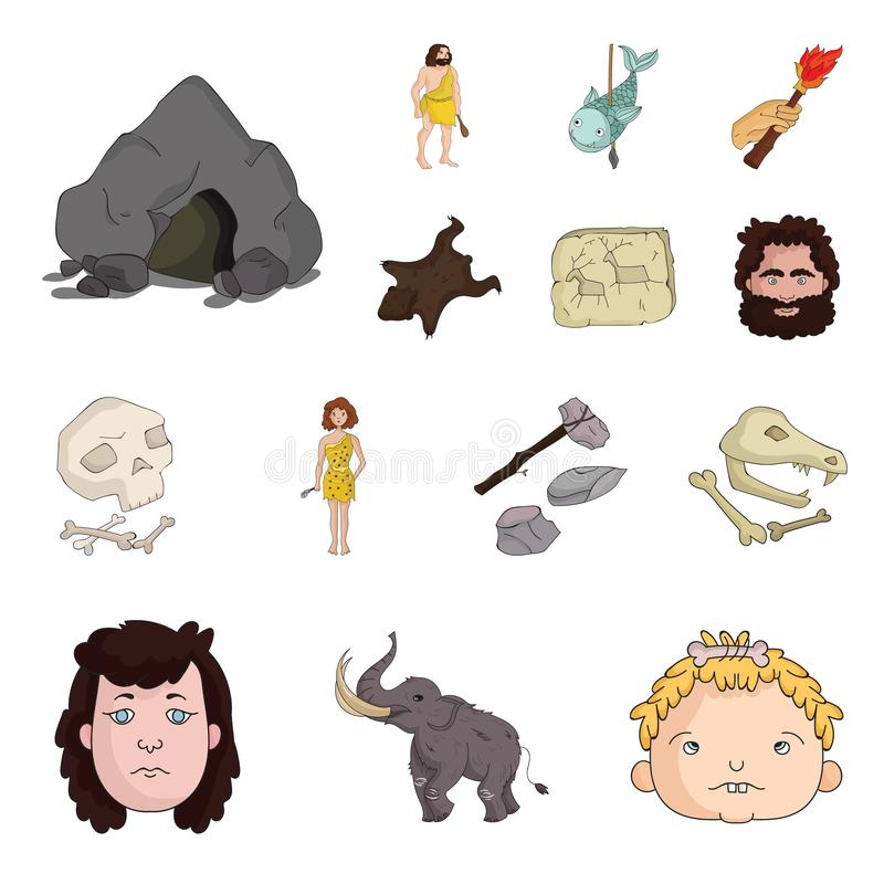 Life in the Stone Age cartoon icons in set collection for design. Ancient people vector symbol stock web illustration. Life in the Stone Age cartoon icons in vector illustration