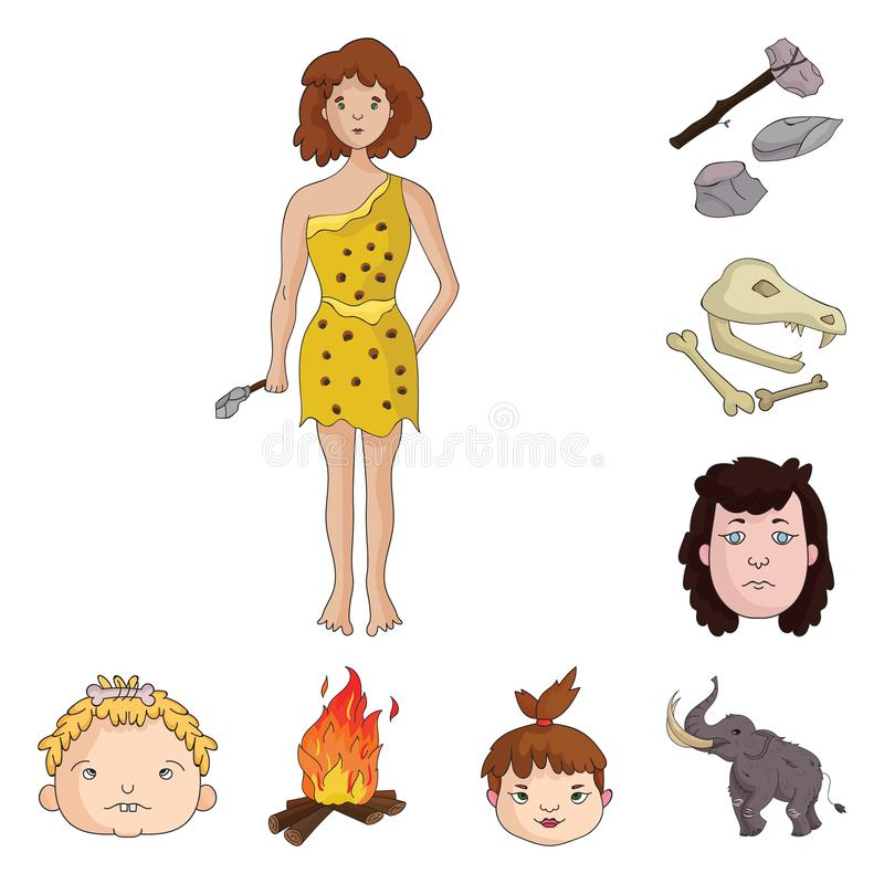 Life in the Stone Age cartoon icons in set collection for design. Ancient people vector symbol stock web illustration. Life in the Stone Age cartoon icons in stock illustration
