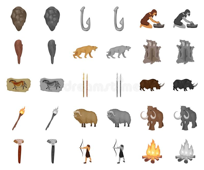 Life in the Stone Age cartoon,monochrom icons in set collection for design. Ancient people vector symbol stock web. Life in the Stone Age cartoon,monochrom icons stock illustration