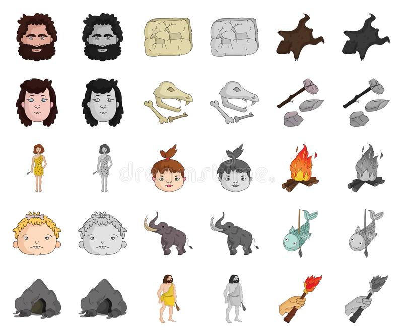 Life in the Stone Age cartoon,monochrom icons in set collection for design. Ancient people vector symbol stock web. Life in the Stone Age cartoon,monochrom icons royalty free illustration