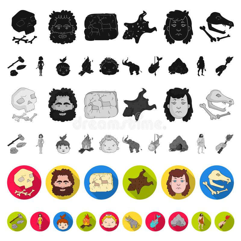 Life in the Stone Age flat icons in set collection for design. Ancient people vector symbol stock web illustration. Life in the Stone Age flat icons in set stock illustration