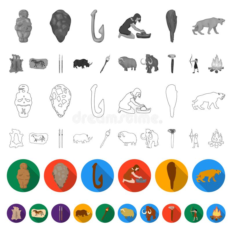 Life in the Stone Age flat icons in set collection for design. Ancient people vector symbol stock web illustration. Life in the Stone Age flat icons in set vector illustration