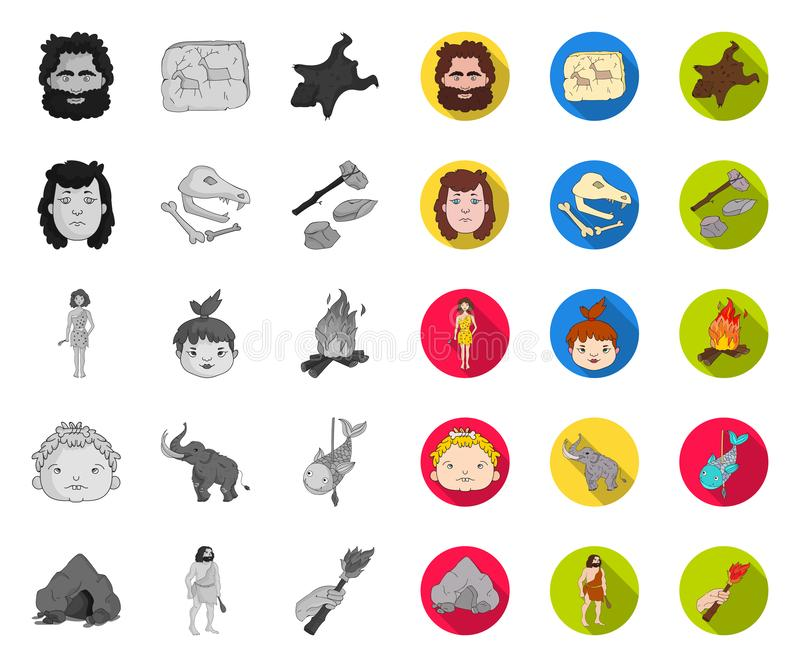 Life in the Stone Age mono,flat icons in set collection for design. Ancient people vector symbol stock web illustration. Life in the Stone Age mono,flat icons stock illustration