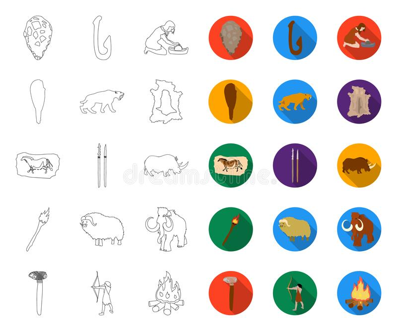 Life in the Stone Age outline,flat icons in set collection for design. Ancient people vector symbol stock web. Life in the Stone Age outline,flat icons in set vector illustration