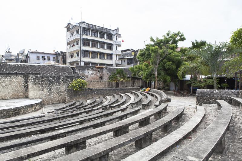 Life of Stone Town in Zanzibar Island, Tanzania. This picture is taken in Zanzibar island, Tanzania. Stone Town, also known as Mji Mkongwe Swahili for `old town stock photo