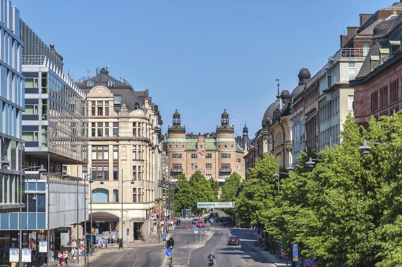 Life in the street of Stockholm, Sweden royalty free stock photo