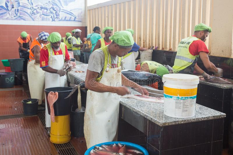 Life on the streets of Mindelo. Fish market royalty free stock images