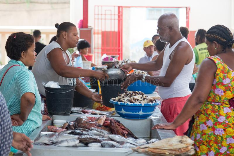 Life on the streets of Mindelo. Fish market royalty free stock photography