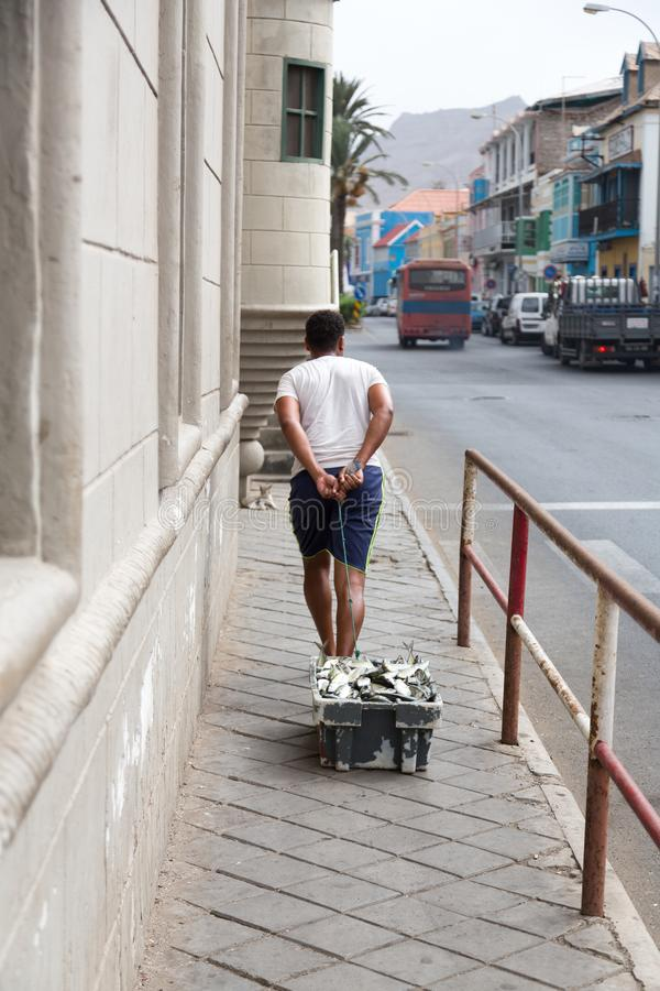 Life on the streets of Mindelo. Fish market. stock photo