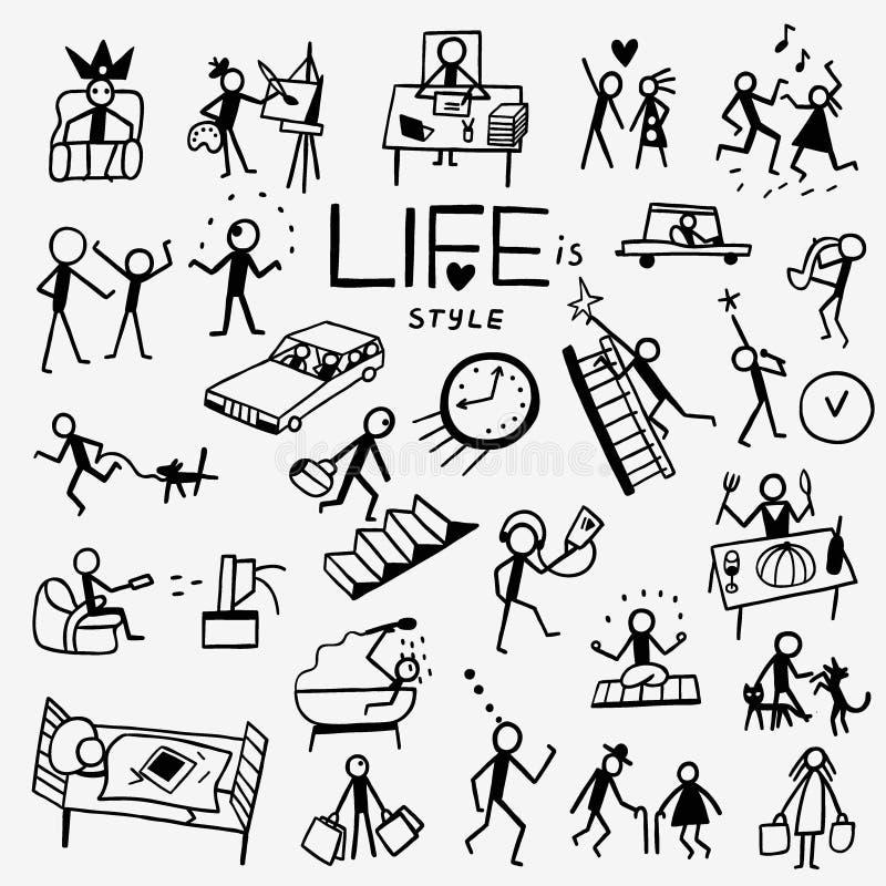 Life style doodles royalty free illustration