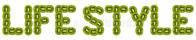 Life style. Text of slices of kiwi on white background royalty free stock photos