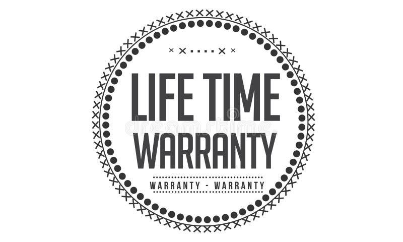 Life time Warranty icon. Black stamp vector illustration