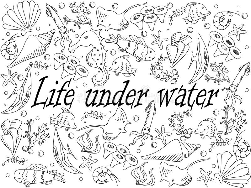 Download Life Under Water Coloring Book Vector Illustration Stock