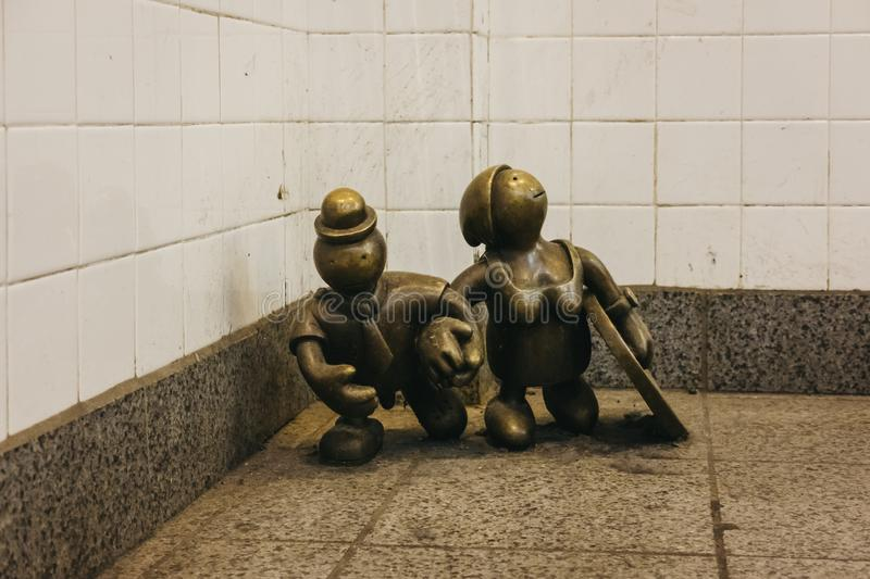 Life Underground statues on 14th Street – 8th Avenue subway station in New York, USA royalty free stock photography