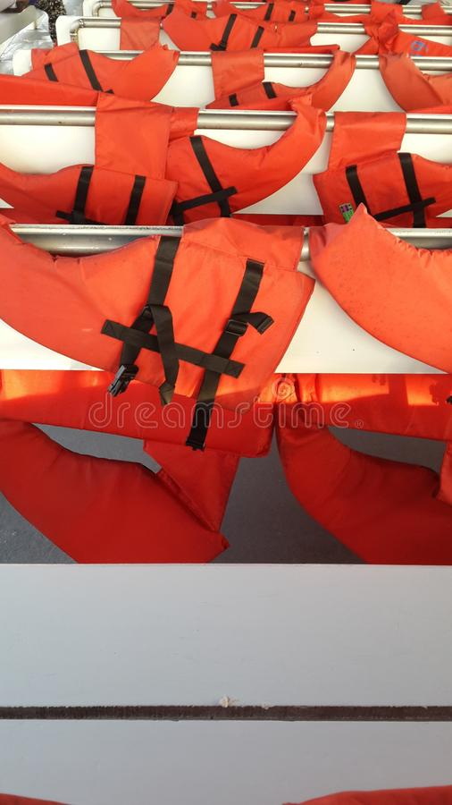 Life Vest At The Seat Back Stock Photo