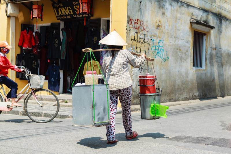 Life of vietnamese vendor. In HOI AN, VIETNAM stock photography
