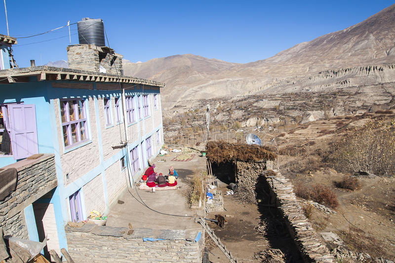 The daily life of villagers Muktinath. MUKTINATH, NEPAL - CIRCA NOVEMBER 2013: the daily life of villagers Muktinath circa November 2013 in Muktinath royalty free stock images