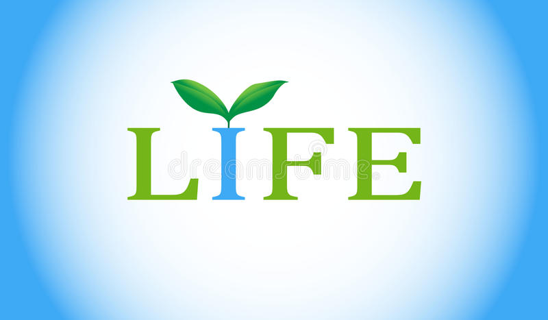 Life word with green plant. vector illustration