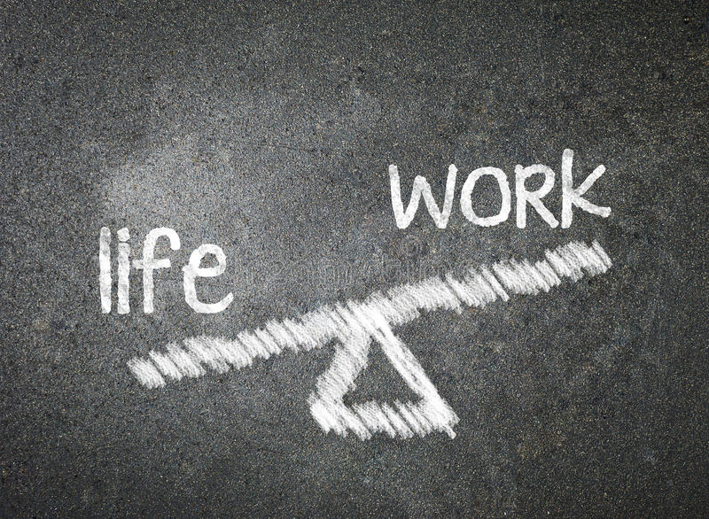Life and work of your choice written with white chalk on a black. Board stock images
