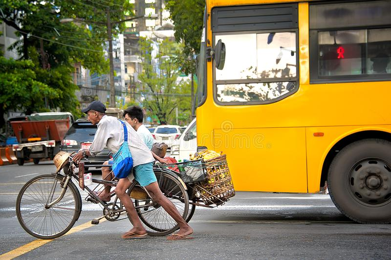 DAILY LIFE IN YANGON stock photos
