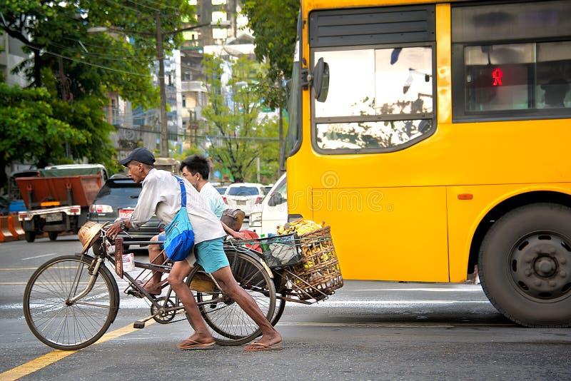 DAILY LIFE IN YANGON stock photos