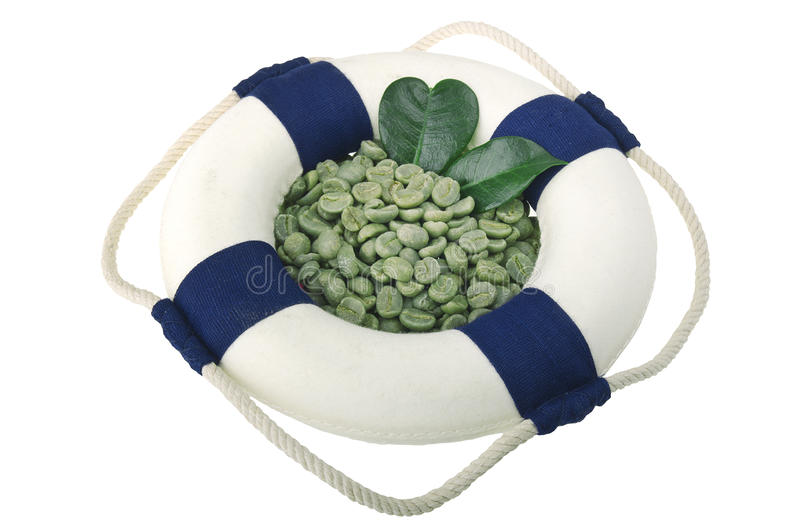 Lifebelt with green coffee beans. On the white background stock photography