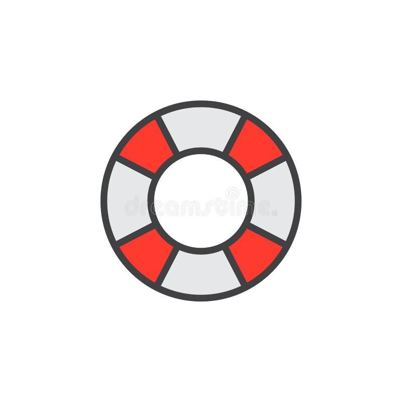Lifebelt kreskowa ikona, wypełniający konturu wektoru znak, liniowy kolorowy piktogram odizolowywający na bielu ilustracji