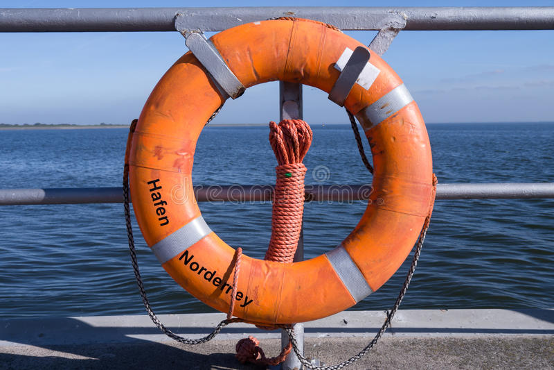 Lifebelt norderney. Lifebelt at harbor of norderney royalty free stock photos