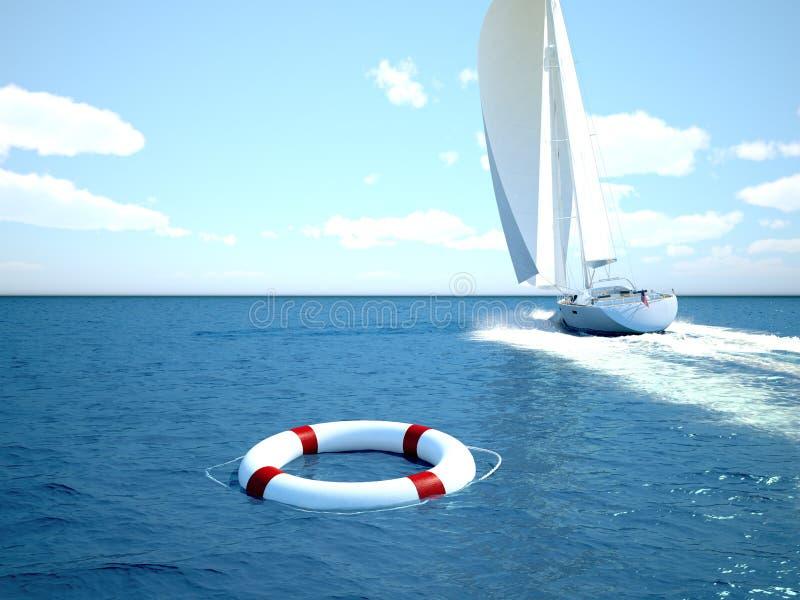 Lifebelt in the Ocean, 3d rendering. Lifebelt in the Ocean with a boat in the background. 3d rendering stock photography