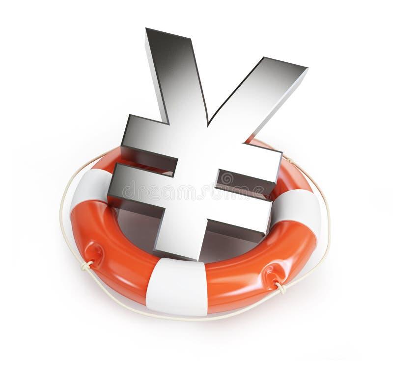 Lifebelt yen on a white background vector illustration