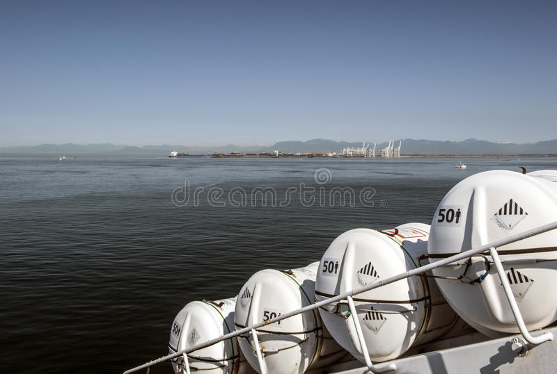 Lifeboat Containers on Ferry Crossing royalty free stock images