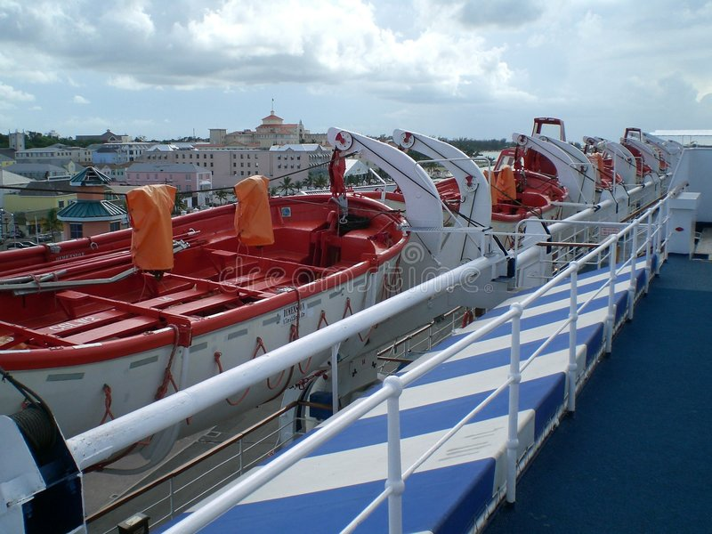 Lifeboats on a cruise ship in Nassau, Bahamas