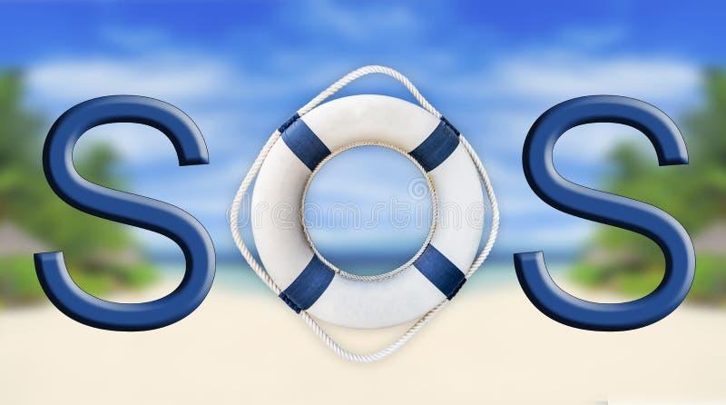 Lifebuoy和SOS标志 免版税库存图片