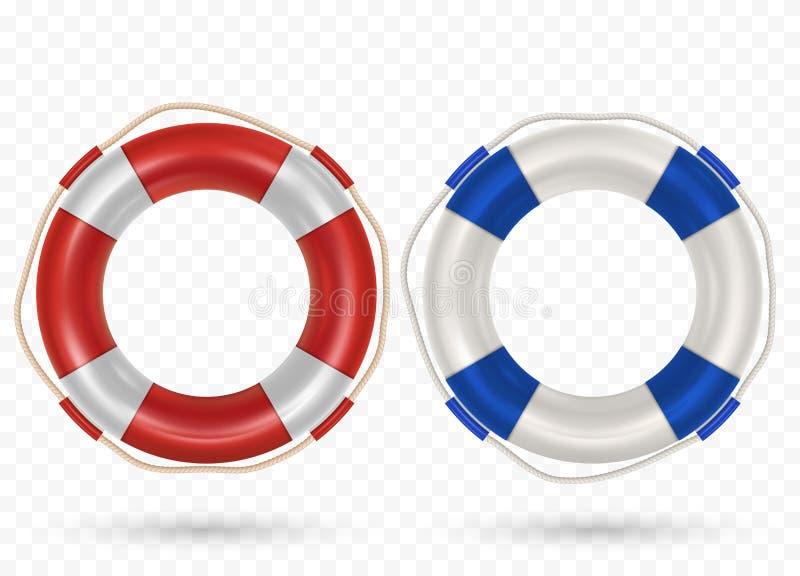 lifebuoy圆环的例证与在透明隔绝的绳索的 向量例证