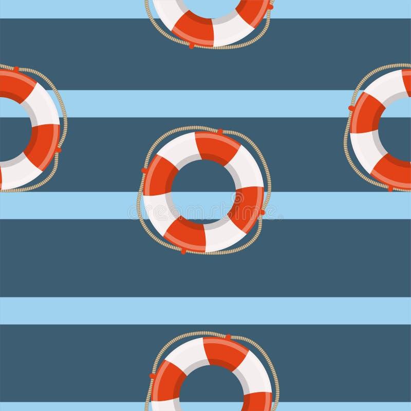 Lifebuoy巡航海洋传染媒介无缝的样式 对于孩子,玩具,纺织品 向量例证