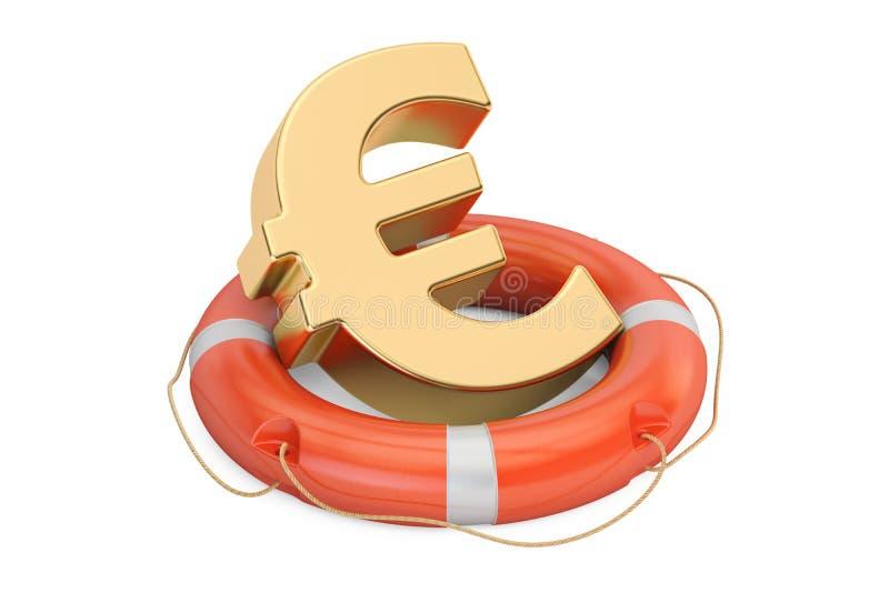 Lifebuoy με το χρυσό ευρο- σύμβολο, τρισδιάστατη απόδοση απεικόνιση αποθεμάτων