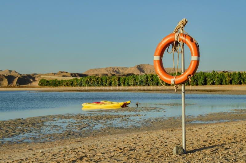 Lifebuoy вися на полюсе стоковое фото rf