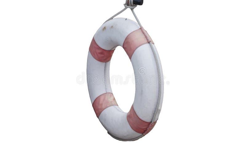 Lifebuoy старое с висеть веревочки изолированный на белых предпосылках спасатель стоковая фотография