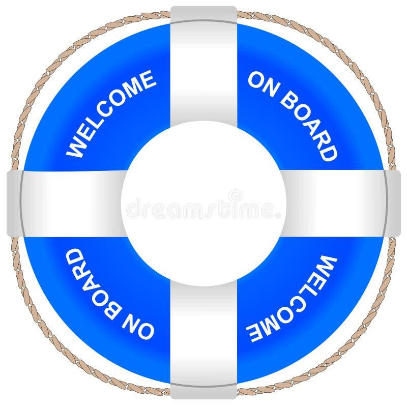 Lifebuoy błękitny kolor z wpisowym powitaniem aboard na pokładzie ilustracja wektor
