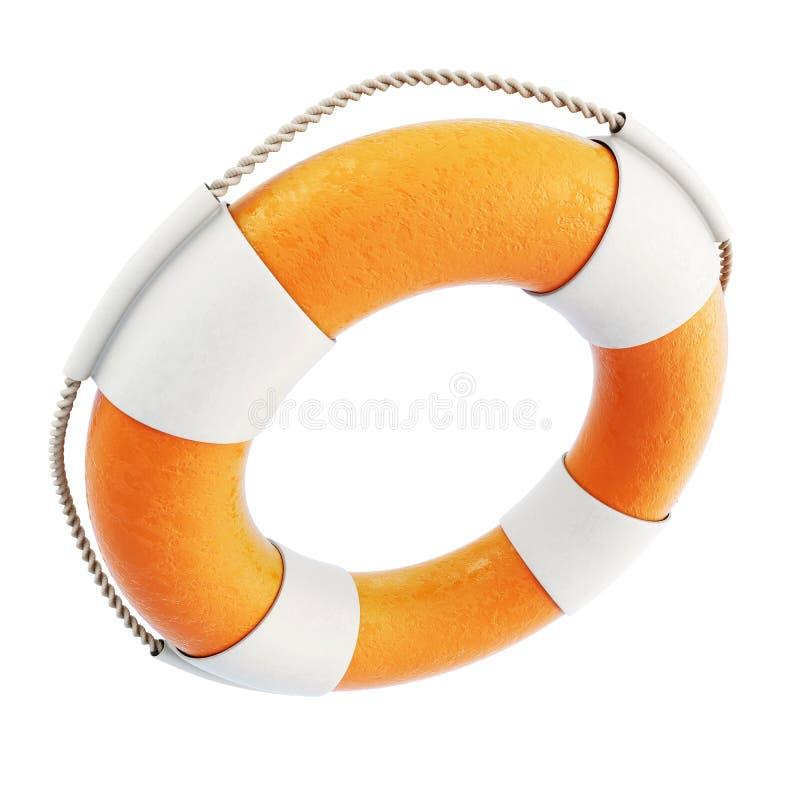 Lifebuoy close-up isolated on white background. 3d. stock illustration